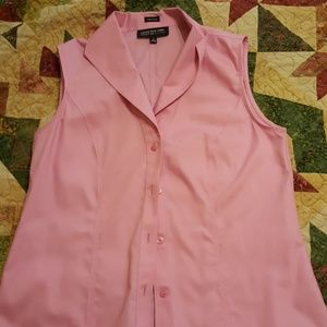 Pink sleeveless button down